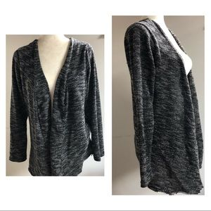 Sweaters - Black Marled open front cardigan